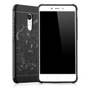 Силиконовый матовый непрозрачный чехол с текстурным покрытием Дракон для Xiaomi RedMi Note 4 Черный