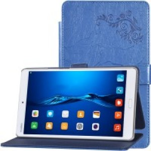 Чехол книжка подставка текстура Узоры на непрозрачной поликарбонатной основе с крепежом для стилуса для Huawei MediaPad M3 Синий