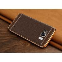 Силиконовый матовый непрозрачный чехол с текстурным покрытием Кожа для Samsung Galaxy S8 Коричневый