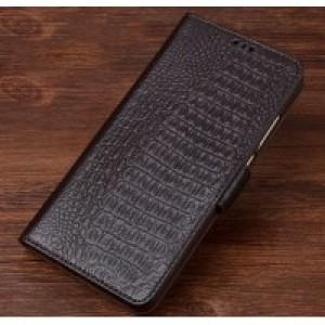 Кожаный чехол портмоне подставка (премиум нат. кожа крокодила) с крепежной застежкой для Huawei Honor 8 Lite