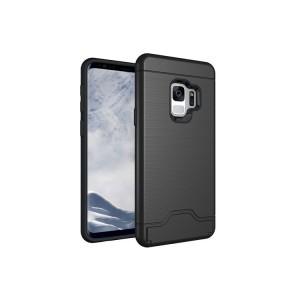 Противоударный двухкомпонентный силиконовый матовый непрозрачный чехол с поликарбонатными вставками экстрим защиты с встроенной ножкой-подставкой c отсеком для карты для Samsung Galaxy S9 Plus Черный