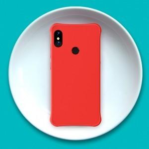 Силиконовый матовый непрозрачный чехол с нескользящим софт-тач покрытием и усиленными углами для Xiaomi RedMi Note 5/5 Pro Красный