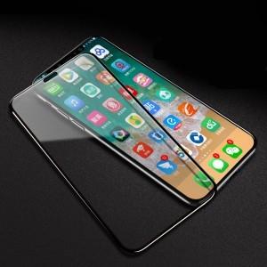 Полноэкранное ультратонкое износоустойчивое сколостойкое олеофобное защитное стекло-пленка для Iphone Xs Max Черный
