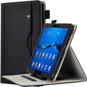 Чехол книжка подставка с рамочной защитой экрана, крепежом для стилуса, отсеком для карт и поддержкой кисти для Huawei MediaPad M5 Lite