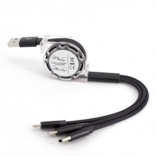 Автоскручивающийся интерфейсный кабель-хаб 3в1 (USB - Lightning/MicroUSB/Type-C) 1м