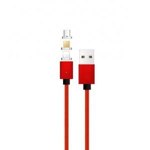 Интерфейсный кабель со сменными магнитными коннекторами (Lightning/MicroUSB/Type-C) и световым индикатором 1м Красный