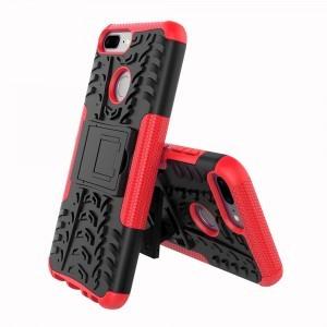Противоударный двухкомпонентный силиконовый матовый непрозрачный чехол с нескользящими гранями и поликарбонатными вставками экстрим защиты с встроенной ножкой-подставкой для Huawei Honor 9 Lite  Красный