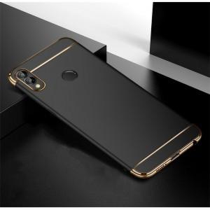 Двухкомпонентный пластиковый непрозрачный матовый сборный чехол для Huawei Honor 8X  Черный