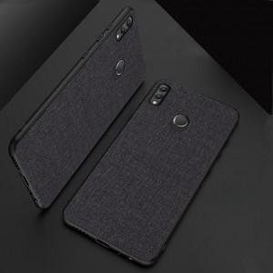 Силиконовый матовый непрозрачный чехол с текстурным покрытием Ткань для Huawei Honor 8X  Черный