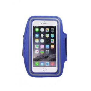Спортивный водонепроницаемый наручный чехол-держатель для гаджетов от 5 до 6 дюймов с карманом, активной защитной пленкой, отверстием для наушников и светоотражающей полосой Синий
