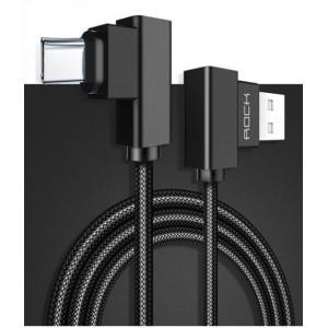 Интерфейсный кабель USb Type-C игрового типа в тканевой оплетке 1м с угловым разъемом, фиксирующей присоской и стягивающим хомутом Черный