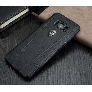 Силиконовый матовый непрозрачный чехол с текстурным покрытием Кожа для Samsung Galaxy S8 Черный