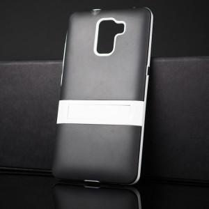 Двухкомпонентный силиконовый матовый непрозрачный чехол с поликарбонатным бампером и встроенной ножкой-подставкой для Huawei Honor 7