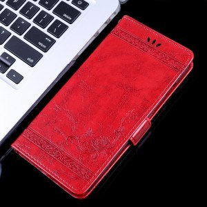 Чехол портмоне подставка текстура Узоры на силиконовой основе с отсеком для карт на магнитной защелке для ASUS ZenFone Max Pro M2  Красный