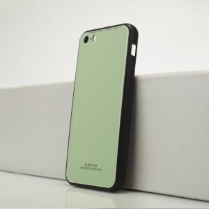 Силиконовый матовый непрозрачный чехол с co стеклянной накладкой для Iphone 5s/5/SE Зеленый