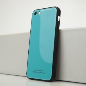 Силиконовый матовый непрозрачный чехол с co стеклянной накладкой для Iphone 5s/5/SE Голубой