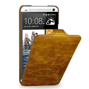 Кожаный эксклюзивный чехол ручной работы (цельная телячья кожа) для HTC One M7 One SIM (для модели с одной сим-картой)