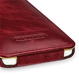Кожаный эксклюзивный чехол ручной работы (цельная телячья кожа) для HTC One M7 Dual SIM Красный