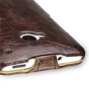 Кожаный эксклюзивный чехол ручной работы (цельная телячья кожа) для HTC One M7 Dual SIM Коричневый