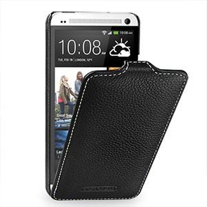 Кожаный чехол книжка вертикальная (нат. кожа) для HTC One M7 Dual SIM Черный