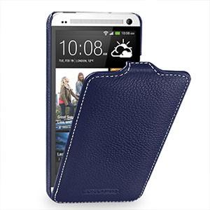 Кожаный чехол книжка вертикальная (нат. кожа) для HTC One M7 Dual SIM Синий