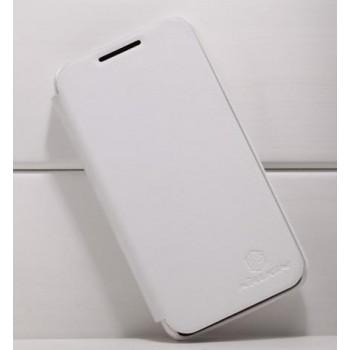 Кожаный чехол книжка горизонтальная для Huawei Ascend D1 Белый