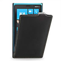 Чехол для Nokia Lumia 920 кожаный (нат. кожа) книжка вертикальная Черный