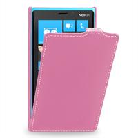 Чехол для Nokia Lumia 920 кожаный (нат. кожа) книжка вертикальная Розовый