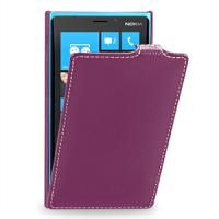 Чехол для Nokia Lumia 920 кожаный (нат. кожа) книжка вертикальная Фиолетовый