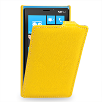Чехол для Nokia Lumia 920 кожаный (нат. кожа) книжка вертикальная Желтый
