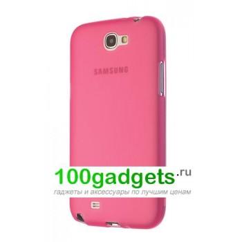 Силиконовый матовый полупрозрачный чехол для Samsung Galaxy Note 2 Розовый