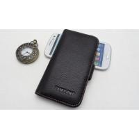 Кожаный чехол портмоне (нат. кожа) для Galaxy S4 Черный