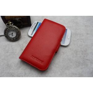 Кожаный чехол портмоне (нат. кожа) для Galaxy S4 Красный