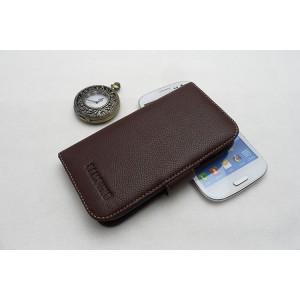 Кожаный чехол портмоне (нат. кожа) для Galaxy S4 Коричневый