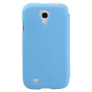 Чехол кожа/пластик текстурный дерево для Galaxy S4 Голубой