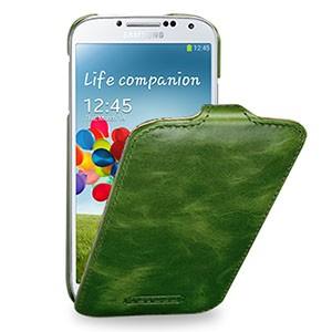 Кожаный эксклюзивный чехол ручной работы (цельная телячья кожа) для Samsung Galaxy S4 зеленый
