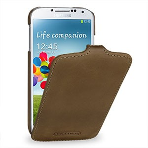 Кожаный эксклюзивный чехол ручной работы (винтажная кожа) для Samsung Galaxy S4 коричневый