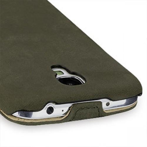 Кожаный эксклюзивный чехол ручной работы (винтажная кожа) для Samsung Galaxy S4 зеленый