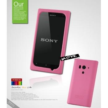 Чехол силиконовый премиум для Sony Xperia acro S Розовый