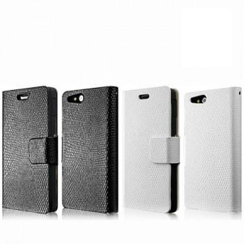Чехол кожаный книжка горизонтальная на клеевой основе для Sony Xperia go