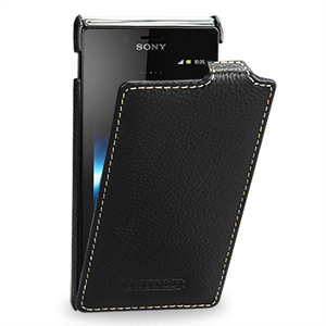 Чехол кожаный книжка вертикальная (нат. кожа) для Sony Xperia J ST26i
