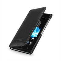 Чехол кожаный книжка горизонтальная (нат. кожа) для Sony Xperia J ST26i Черный