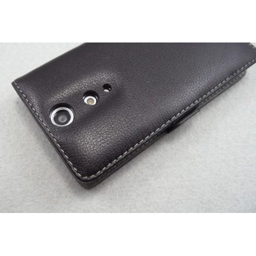 Чехол кожаный книжка горизонтальная (нат. кожа) для Sony Xperia TX Коричневый