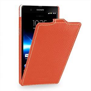 Кожаный чехол вертикальная книжка (нат. кожа) для Sony Xperia Z Оранжевый
