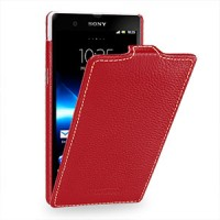 Кожаный чехол вертикальная книжка (нат. кожа) для Sony Xperia Z Красный