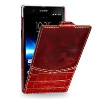 Кожаный чехол вертикальная книжка (нат. кожа) для Sony Xperia Z