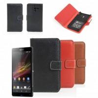 Чехол кожаный горизонтальный портмоне для Sony Xperia ZL