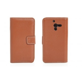 Чехол кожаный горизонтальный портмоне для Sony Xperia ZL Коричневый