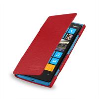 Чехол для Nokia Lumia 920 кожаный (нат. кожа) книжка горизонтальная Красный