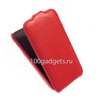 Кожаный чехол книжка вертикальная (нат. кожа) для Samsung Galaxy Ace 3 Красный